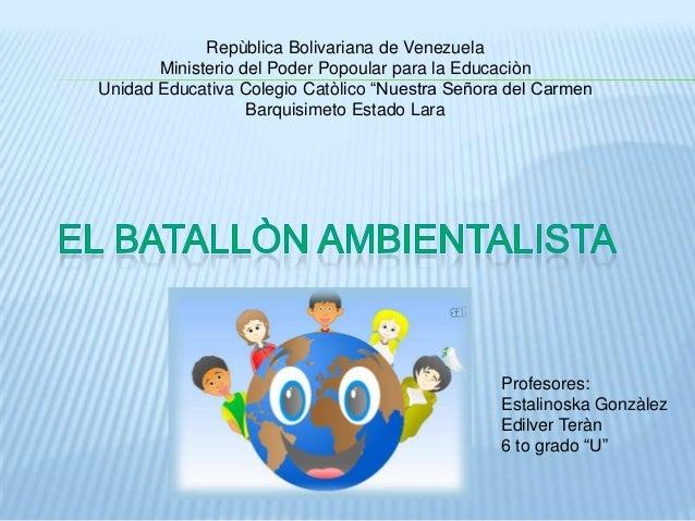 Repùblica Bolivariana de Venezuela       Ministerio del Poder Popoular para la EducaciònUnidad Educativa Colegio Catòlico ...