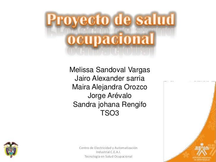 Proyecto de salud ocupacional<br />Melissa Sandoval Vargas<br />Jairo Alexander sarria<br />Maira Alejandra Orozco<br />Jo...