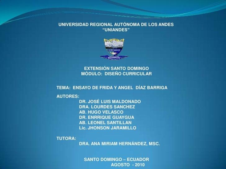 """UNIVERSIDAD REGIONAL AUTÓNOMA DE LOS ANDES<br />""""UNIANDES""""<br />EXTENSIÓN SANTO DOMINGO <br />MÓDULO:  DISEÑO CURRICULAR<b..."""