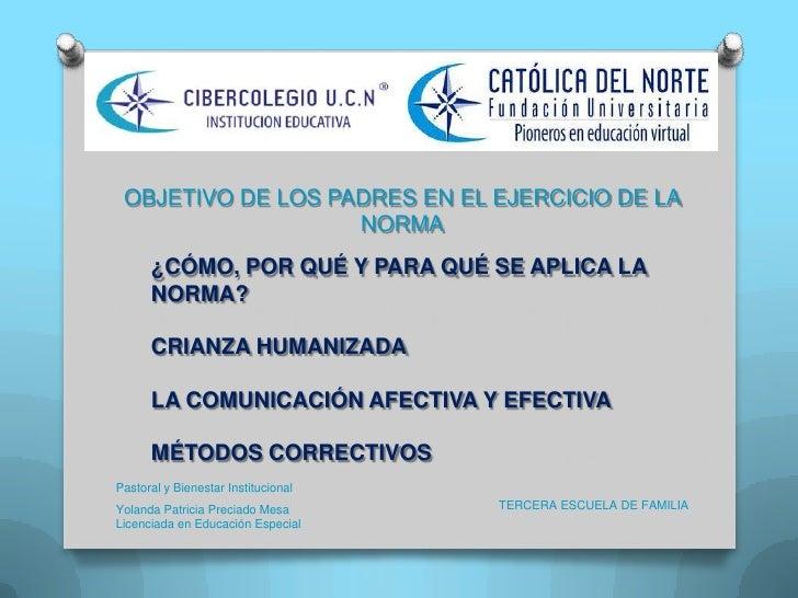 OBJETIVO DE LOS PADRES EN EL EJERCICIO DE LA                   NORMA      ¿CÓMO, POR QUÉ Y PARA QUÉ SE APLICA LA      NORM...