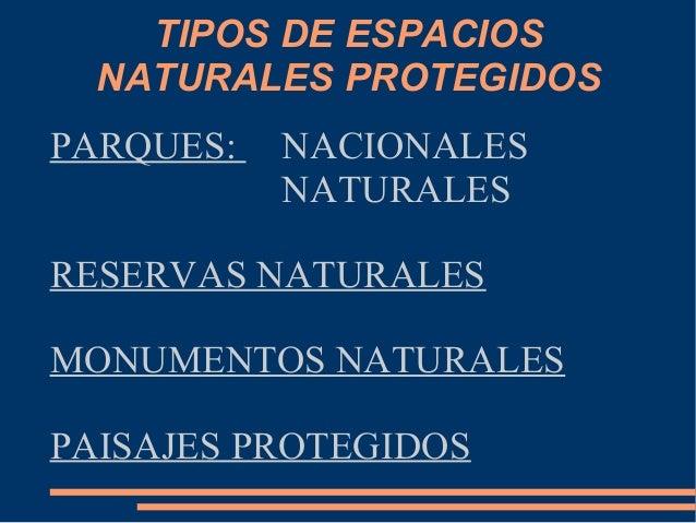 Diapositivas espacios naturales - Tipos de espacios ...