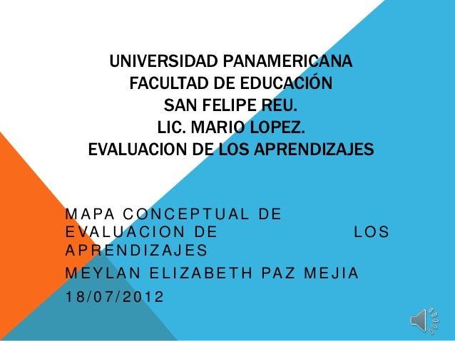 UNIVERSIDAD PANAMERICANA       FACULTAD DE EDUCACIÓN           SAN FELIPE REU.          LIC. MARIO LOPEZ.   EVALUACION DE ...