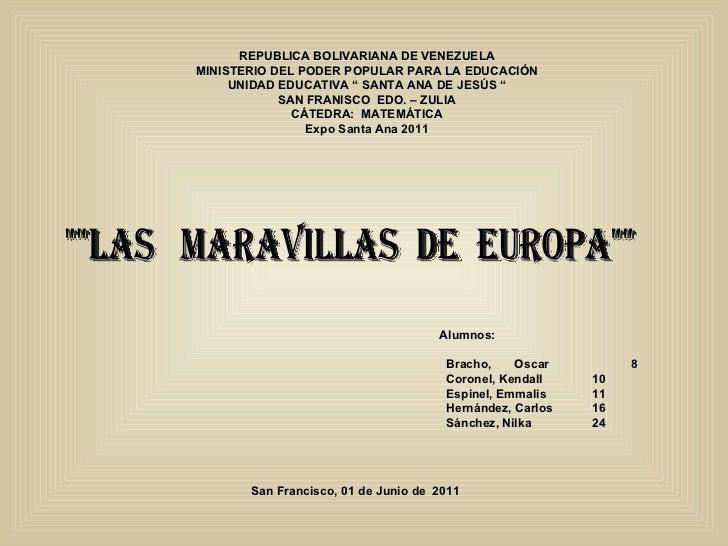 """REPUBLICA BOLIVARIANA DE VENEZUELA MINISTERIO DEL PODER POPULAR PARA LA EDUCACIÓN UNIDAD EDUCATIVA """" SANTA ANA DE JESÚS """" ..."""