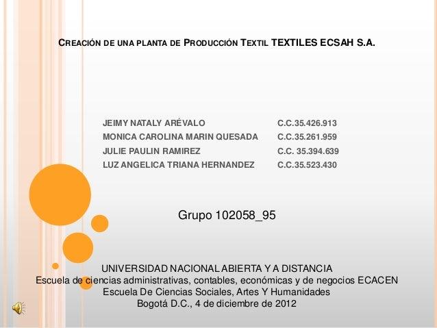 CREACIÓN DE UNA PLANTA DE PRODUCCIÓN TEXTIL TEXTILES ECSAH S.A.              JEIMY NATALY ARÉVALO                  C.C.35....