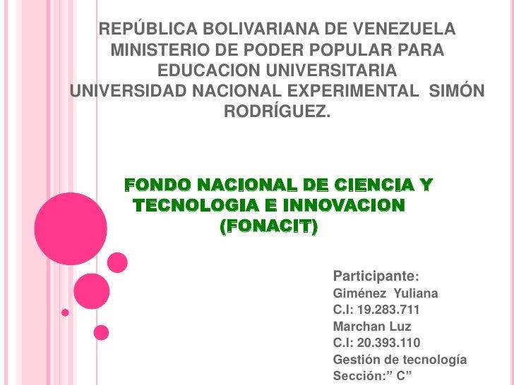 REPÚBLICA BOLIVARIANA DE VENEZUELA    MINISTERIO DE PODER POPULAR PARA         EDUCACION UNIVERSITARIAUNIVERSIDAD NACIONAL...
