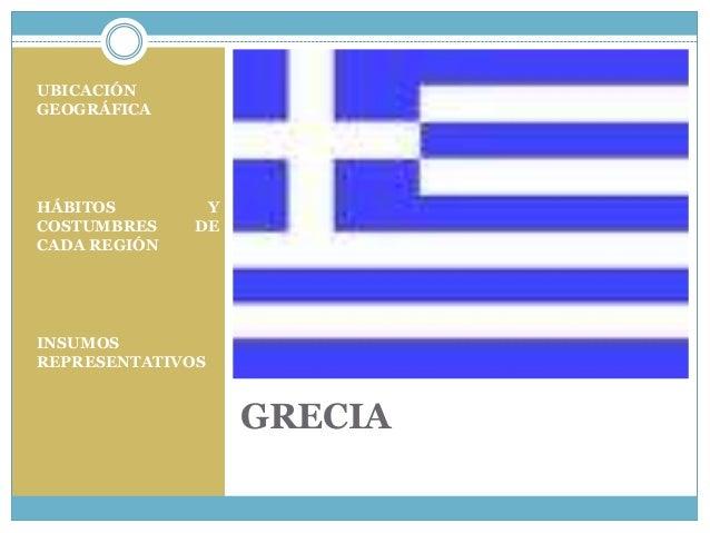 UBICACIÓN GEOGRÁFICA  HÁBITOS COSTUMBRES CADA REGIÓN  Y DE  INSUMOS REPRESENTATIVOS  GRECIA