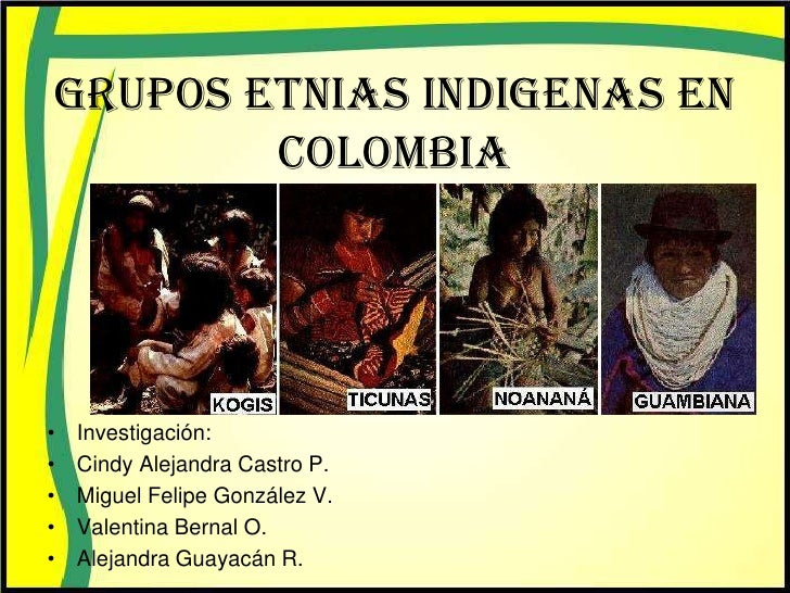 GRUPOS ETNIAS INDIGENAS EN        COLOMBIA•   Investigación:•   Cindy Alejandra Castro P.•   Miguel Felipe González V.•   ...