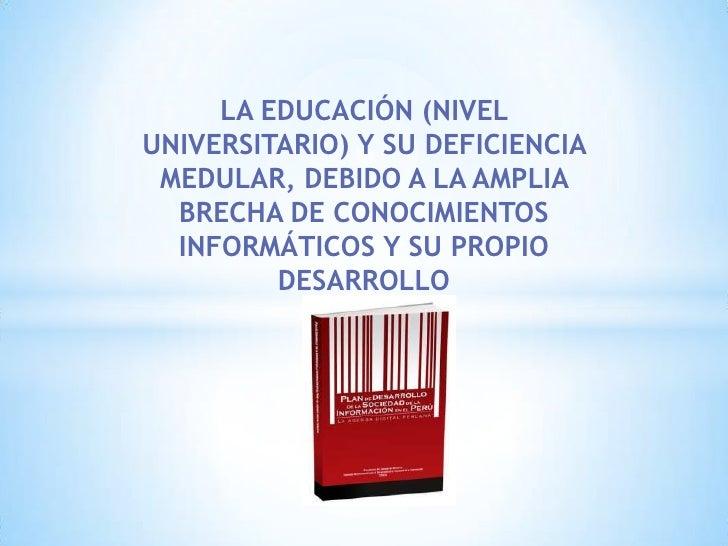 LA EDUCACIÓN (NIVELUNIVERSITARIO) Y SU DEFICIENCIA MEDULAR, DEBIDO A LA AMPLIA  BRECHA DE CONOCIMIENTOS  INFORMÁTICOS Y SU...