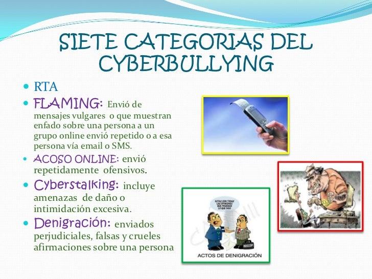 SIETE CATEGORIAS DEL CYBERBULLYING<br />RTA<br />FLAMING: Envió de mensajes vulgares  o que muestran enfado sobre una pers...