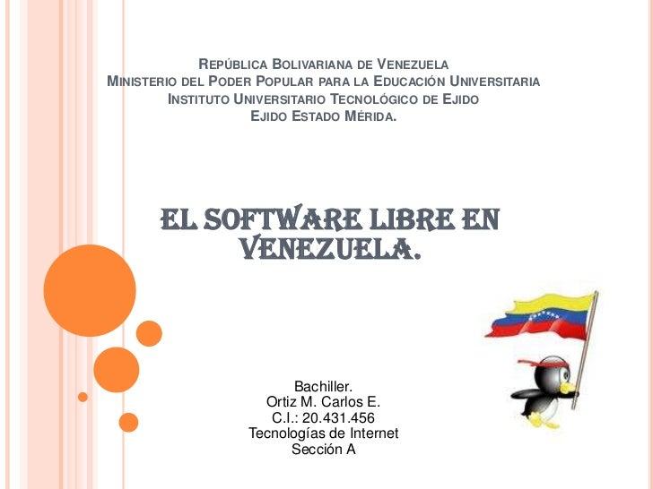 República Bolivariana de VenezuelaMinisterio del Poder Popular para la Educación UniversitariaInstituto Universitario Tecn...