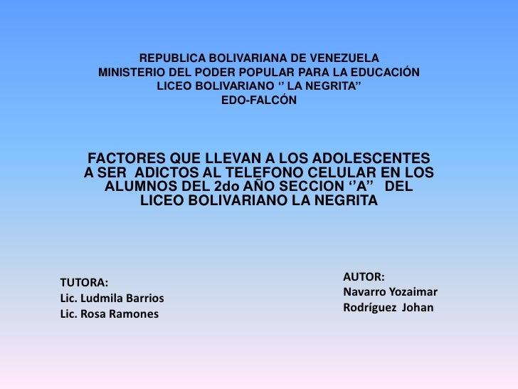 REPUBLICA BOLIVARIANA DE VENEZUELA       MINISTERIO DEL PODER POPULAR PARA LA EDUCACIÓN                LICEO BOLIVARIANO '...