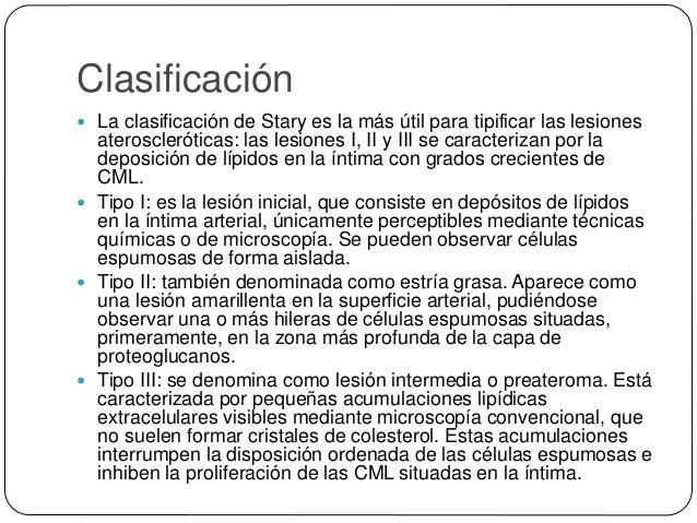 Clasificación  Tipo VII: se denomina como calcificada o bien como Vb. Se produce por la calcificación del núcleo lipídico...