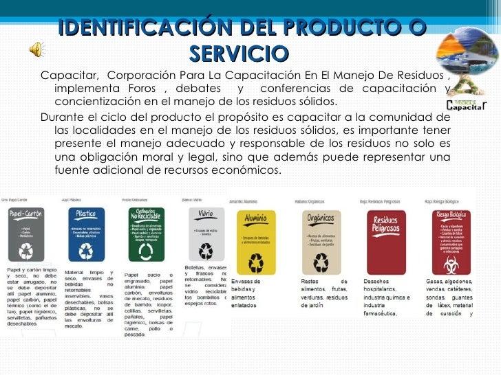 IDENTIFICACIÓN DEL PRODUCTO O              SERVICIOCapacitar, Corporación Para La Capacitación En El Manejo De Residuos , ...