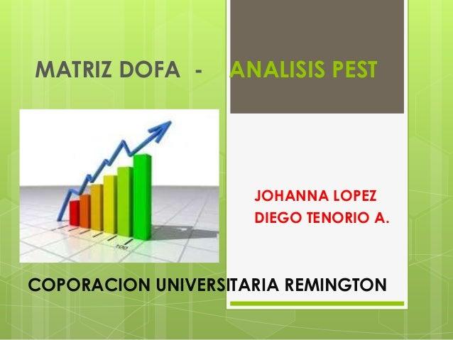 MATRIZ DOFA -  ANALISIS PEST  JOHANNA LOPEZ DIEGO TENORIO A.  COPORACION UNIVERSITARIA REMINGTON