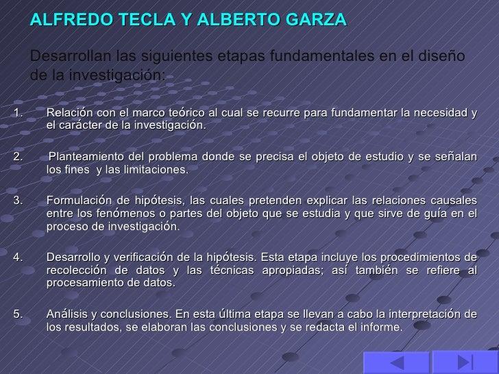 ALFREDO TECLA Y ALBERTO GARZA     Desarrollan las siguientes etapas fundamentales en el diseño     de la investigación:1. ...