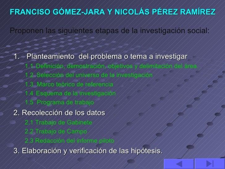 FRANCISO GÓMEZ-JARA Y NICOLÁS PÉREZ RAMÍREZProponen las siguientes etapas de la investigación social: 1. Planteamiento del...