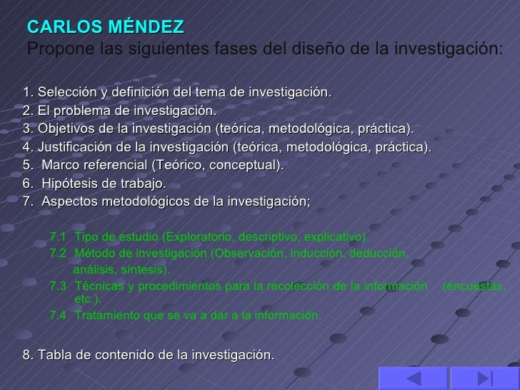 CARLOS MÉNDEZPropone las siguientes fases del diseño de la investigación:1. Selección y definición del tema de investigaci...