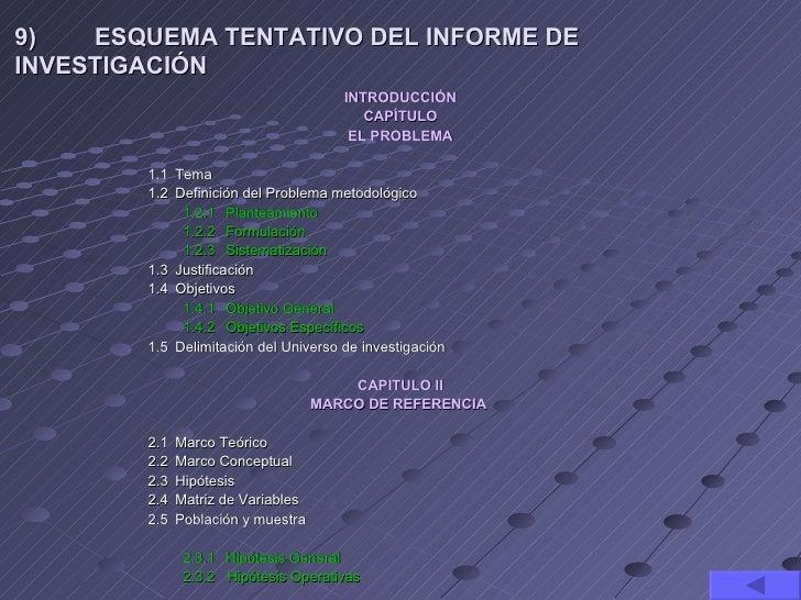 9)   ESQUEMA TENTATIVO DEL INFORME DEINVESTIGACIÓN                                      INTRODUCCIÓN                      ...