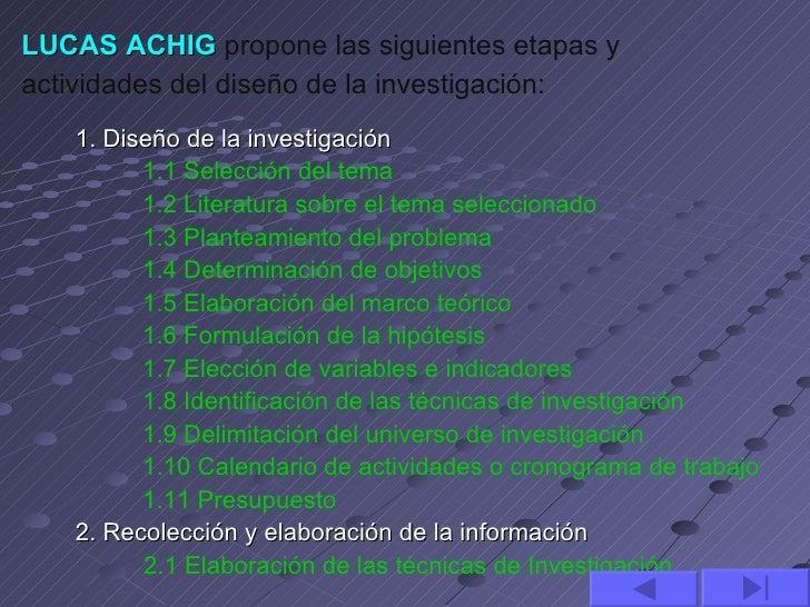 LUCAS ACHIG propone las siguientes etapas yactividades del diseño de la investigación:   1. Diseño de la investigación    ...
