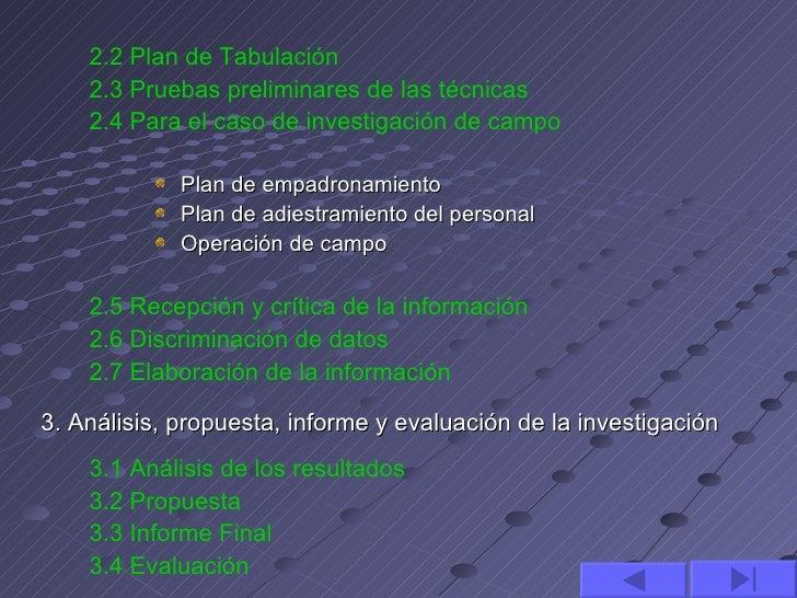 2.2 Plan de Tabulación    2.3 Pruebas preliminares de las técnicas    2.4 Para el caso de investigación de campo          ...