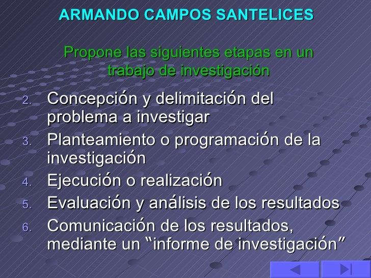 ARMANDO CAMPOS SANTELICES       Propone las siguientes etapas en un           trabajo de investigación2.   Concepción y d...