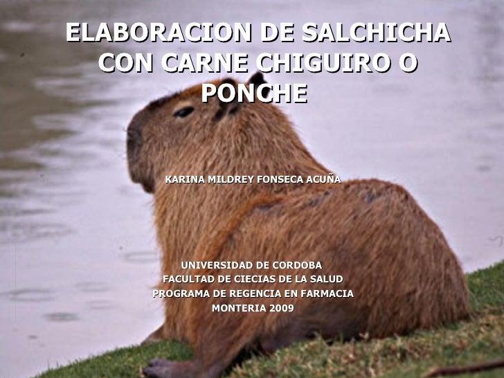 ELABORACION DE SALCHICHA CON CARNE CHIGUIRO O PONCHE   KARINA MILDREY FONSECA ACUÑA UNIVERSIDAD DE CORDOBA  FACULTAD DE CI...