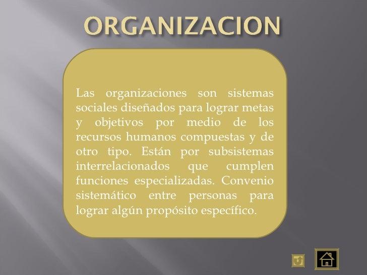 Las organizaciones son sistemas sociales diseñados para lograr metas y objetivos por medio de los recursos humanos compues...