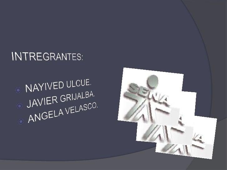 INTREGRANTES:<br />NAYIVED ULCUE.<br />JAVIER GRIJALBA.<br />ANGELA VELASCO.<br />