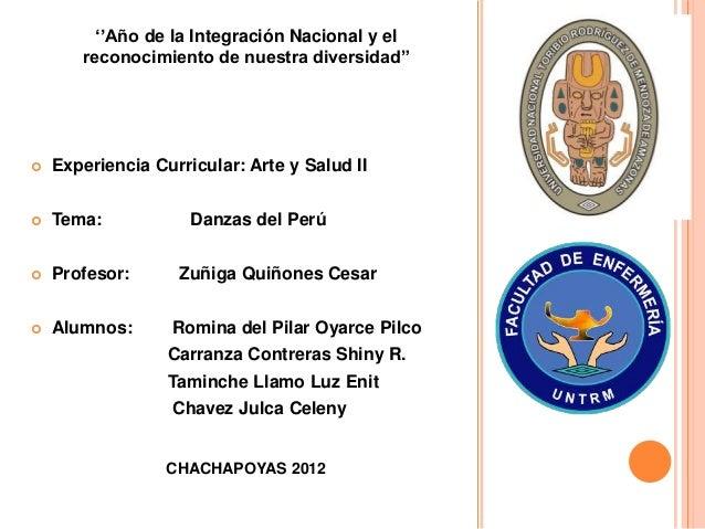 """''Año de la Integración Nacional y el reconocimiento de nuestra diversidad""""  Experiencia Curricular: Arte y Salud II  Te..."""