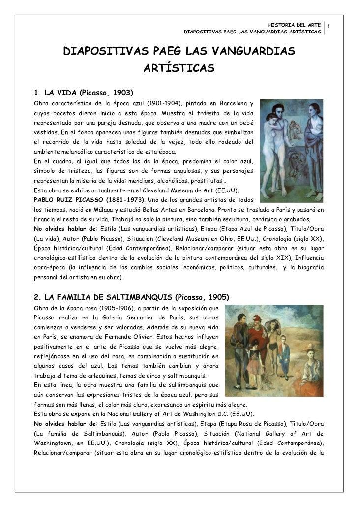 HISTORIA DEL ARTE         1                                                      DIAPOSITIVAS PAEG LAS VANGUARDIAS ARTÍSTI...