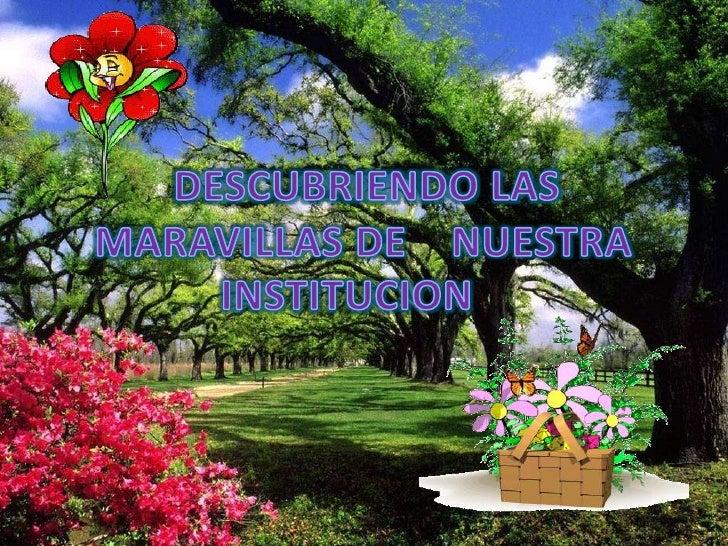 DESCUBRIENDO LAS<br />   MARAVILLAS DE    NUESTRA INSTITUCION<br />