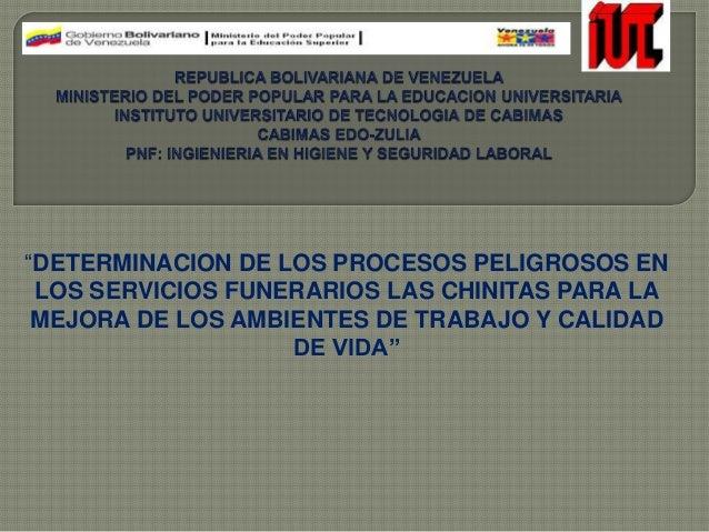 """""""DETERMINACION DE LOS PROCESOS PELIGROSOS EN LOS SERVICIOS FUNERARIOS LAS CHINITAS PARA LA MEJORA DE LOS AMBIENTES DE TRAB..."""