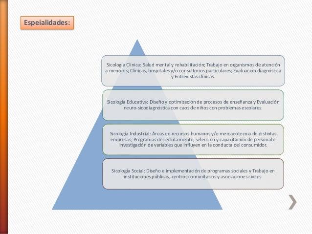 Sicología Clínica: Salud mental y rehabilitación; Trabajo en organismos de atención a menores; Clínicas, hospitales y/o co...