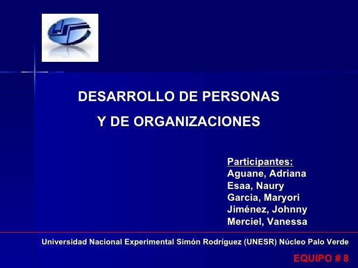 DESARROLLO DE PERSONAS              Y DE ORGANIZACIONES                                               Participantes:      ...