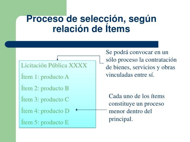 Proceso de selección, según      relación de Ítems                          Se podrá convocar en un                       ...