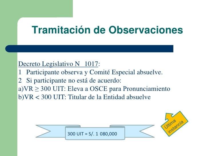 Tramitación de ObservacionesDecreto Legislativo N 1017:1 Participante observa y Comité Especial absuelve.2 Si participante...