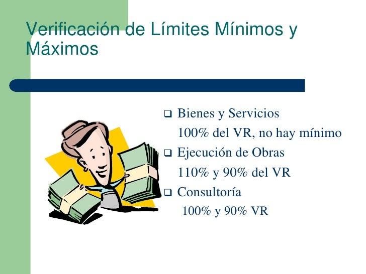 Verificación de Límites Mínimos yMáximos                   Bienes y Servicios                    100% del VR, no hay míni...