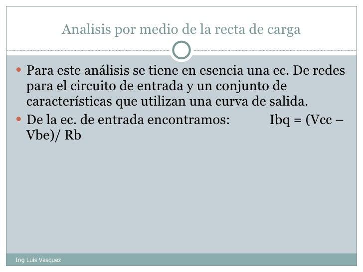 Analisis por medio de la recta de carga <ul><li>Para este análisis se tiene en esencia una ec. De redes para el circuito d...