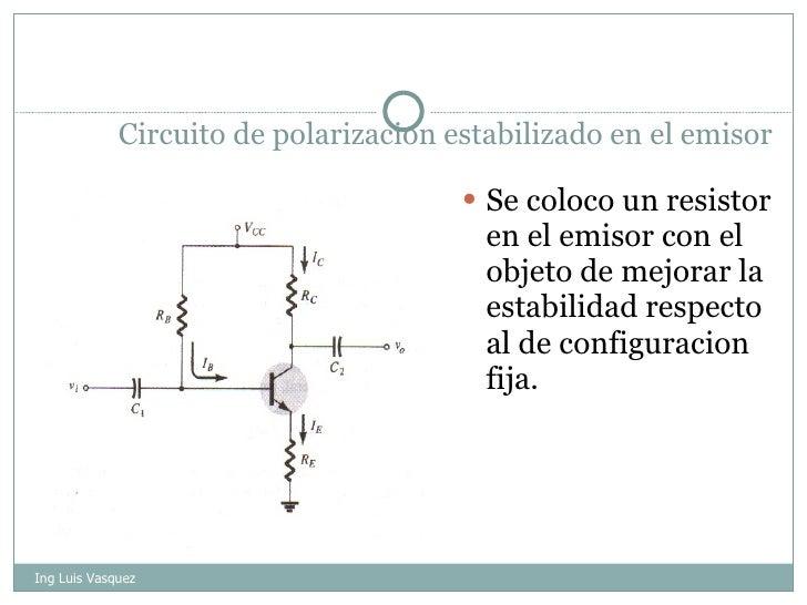 Circuito de polarizacion estabilizado en el emisor <ul><li>Se coloco un resistor en el emisor con el objeto de mejorar la ...