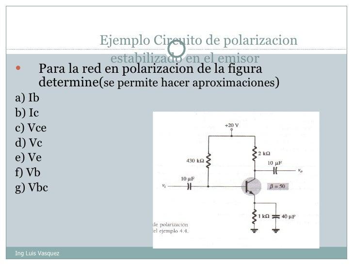 Ejemplo Circuito de polarizacion estabilizado en el emisor  <ul><li>Para la red en polarizacion de la figura determine( se...