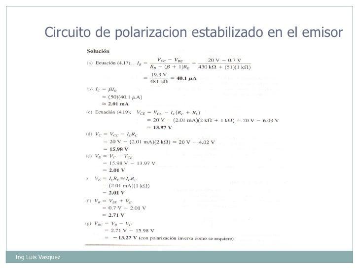 Ing Luis Vasquez Circuito de polarizacion estabilizado en el emisor