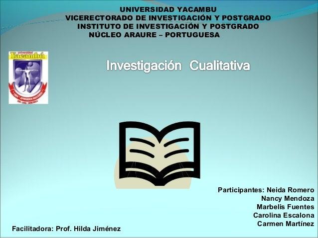 UNIVERSIDAD YACAMBU VICERECTORADO DE INVESTIGACIÓN Y POSTGRADO INSTITUTO DE INVESTIGACIÓN Y POSTGRADO NÚCLEO ARAURE – PORT...