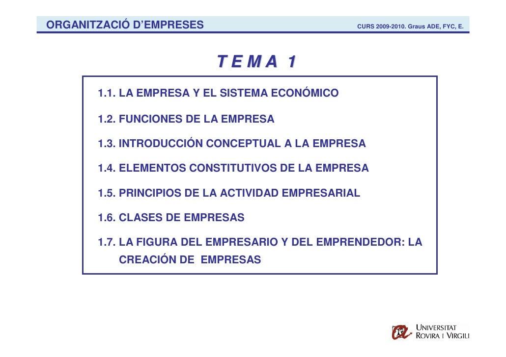 ORGANITZACIÓ D'EMPRESES                          CURS 2009-2010. Graus ADE, FYC, E.                               TEMA 1  ...