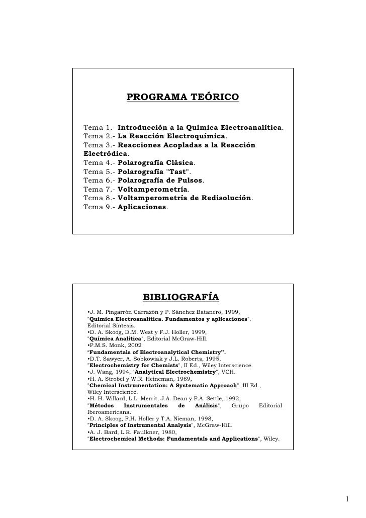 PROGRAMA TEÓRICO   Tema 1.- Introducción a la Química Electroanalítica. Tema 2.- La Reacción Electroquímica. Tema 3.- Reac...