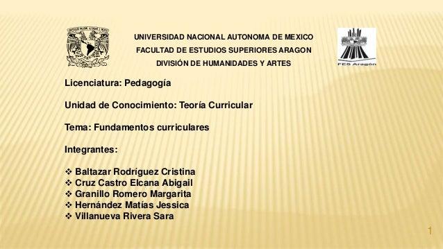 Licenciatura: Pedagogía Unidad de Conocimiento: Teoría Curricular Tema: Fundamentos curriculares Integrantes:  Baltazar R...