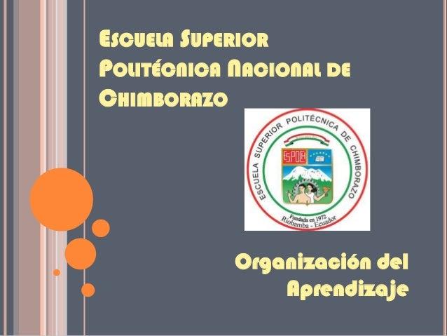 ESCUELA SUPERIOR POLITÉCNICA NACIONAL DE CHIMBORAZO Organización del Aprendizaje