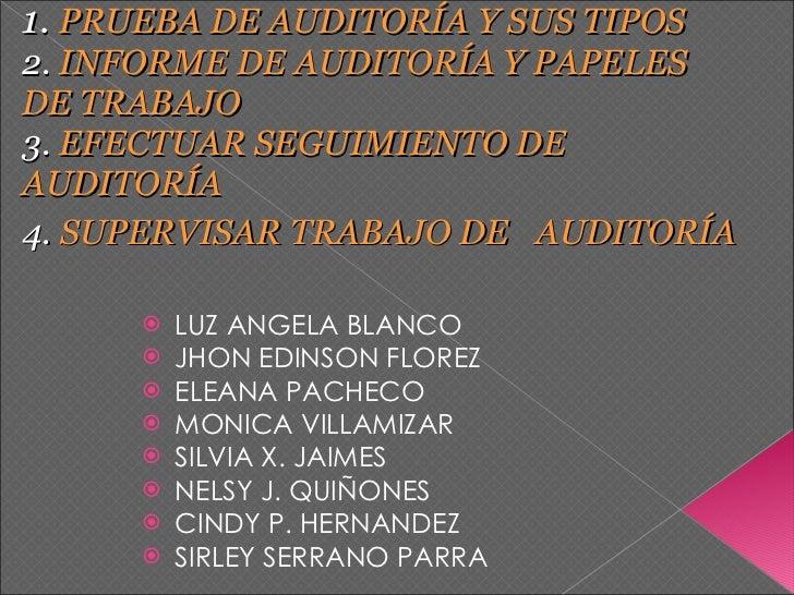 1.   PRUEBA DE AUDITORÍA Y SUS TIPOS  2.  INFORME DE AUDITORÍA Y PAPELES   DE TRABAJO   3.  EFECTUAR SEGUIMIENTO DE  AUDIT...