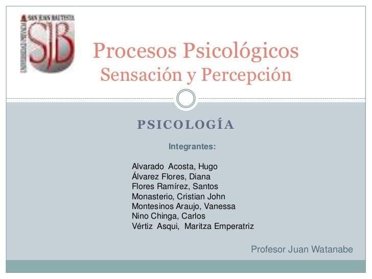 Psicología<br />Procesos PsicológicosSensación y Percepción<br />Integrantes: <br />Alvarado  Acosta, Hugo<br />Álvarez Fl...