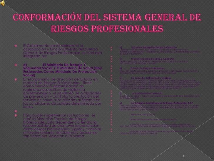 Conformación Del Sistema General De Riesgos Profesionales<br />El Gobierno Nacional determinó la organización y funcionami...