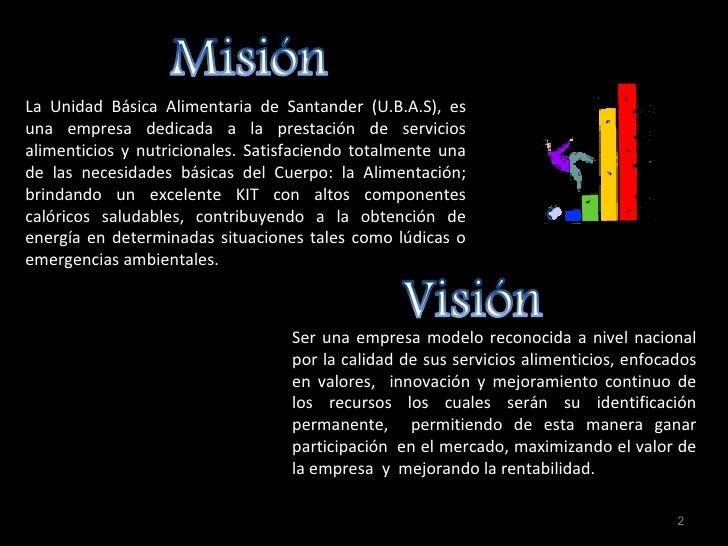 La Unidad Básica Alimentaria de Santander (U.B.A.S), es una empresa dedicada a la prestación de servicios alimenticios y n...
